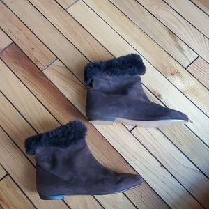 NWT Anne Klein suede leather shearling booties sz5